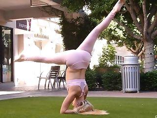 Babe, Blonde, Flexible, HD, Kinky, Long Hair, Outdoor, Solo, Workout, Yoga,