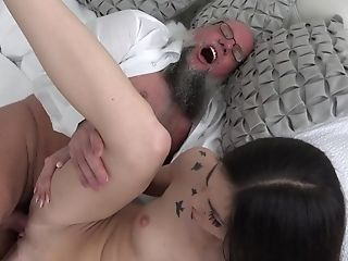 69, Babe, Bedroom, Blowjob, Brunette, Cowgirl, Cumshot, Doggystyle, Grandpa, HD,