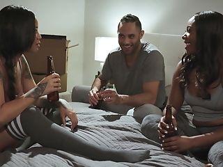 Angela White, Bedroom, Black, FFM, Interracial, Seduction, Stockings,