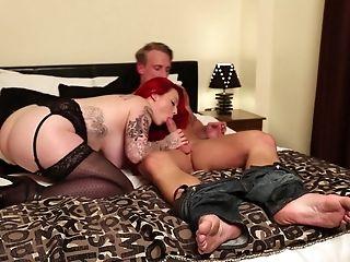 Big Tits, Bra, Chubby, Couple, Dick, Fake Tits, Hardcore, Lingerie, Long Hair, Nylon,
