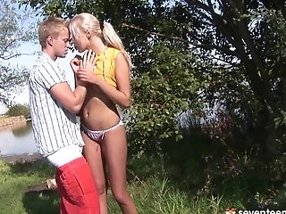 Blonde, Cameltoe, Close Up, Couple, Cum In Mouth, Cute, Girlfriend, Hardcore, Nature, Outdoor,