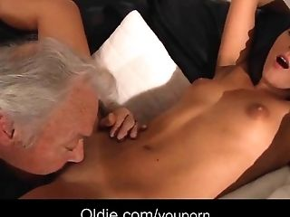 Blowjob, Brunette, Dick, Grandpa, Lingerie, Old, Old And Young, Pussy, Stockings, Young,