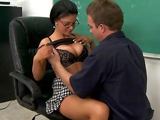 Big Tits, Brunette, Classroom, Clothed Sex, College, Cute, From Behind, Glasses, Marilyn Scott, MILF,