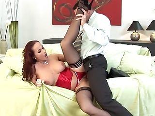 Blowjob, Clamp, Corset, Couple, Cowgirl, Doggystyle, Hardcore, High Heels, Katy Parker, Lingerie,