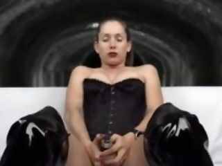 Black, Boots, Brunette, Corset, Erotic, Fetish, HD, Homemade, Leather, Lelu Love,