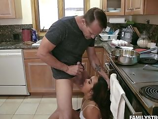 Ass Licking, Babe, Blowjob, Cowgirl, Doggystyle, Hardcore, Kitchen, Latina, Long Hair, Sheena Ryder,